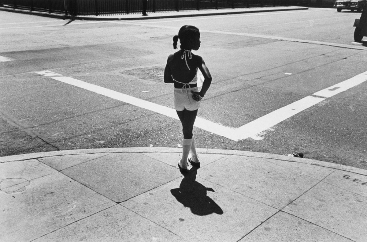 Girl on street corner . Chicago, 1978