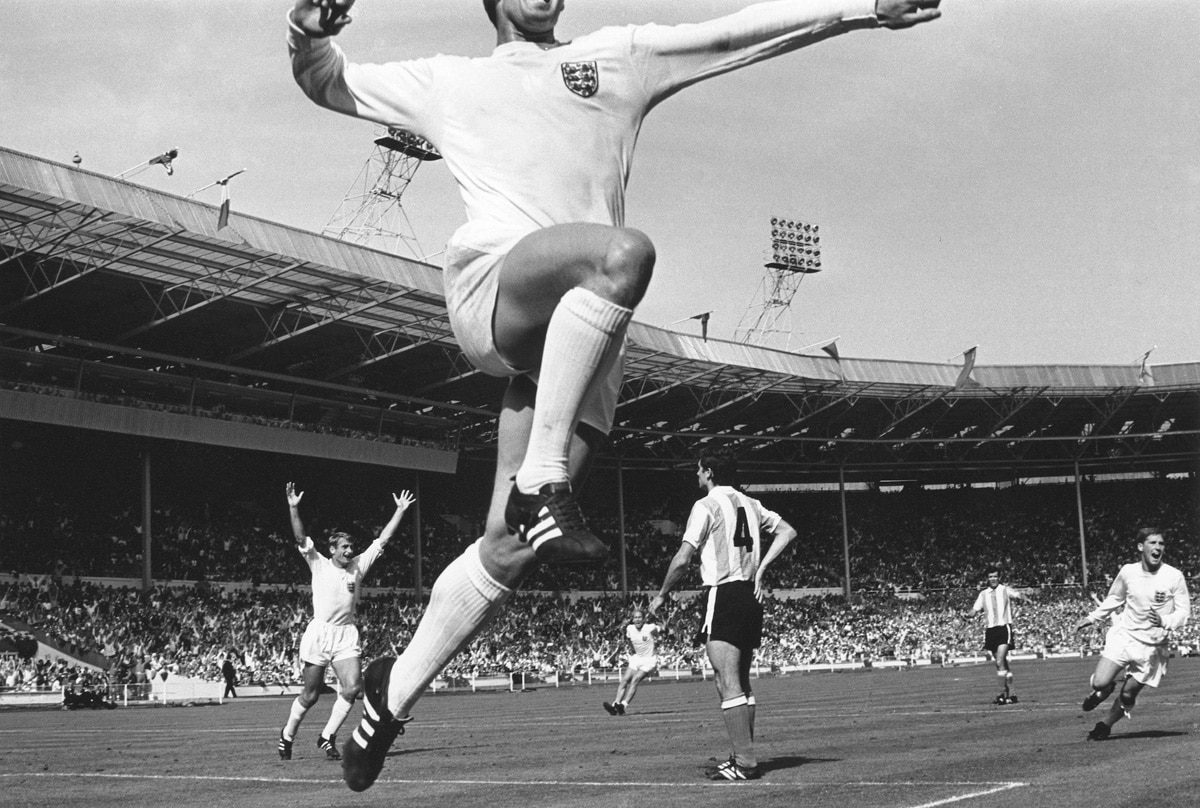 Jumping Geoff - Geoff Hurst scoring the winning goal against Argentina, 1966_Crane Kalman Brighton